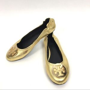 Tory Burch Reva Metallic Gold Ballet Flat size 6